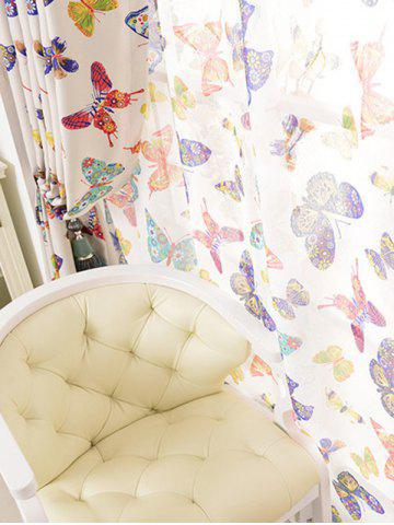Fancy Pastoral Butterfly Sheer Voile Window Curtain - W54INCH*L108INCH COLORMIX Mobile