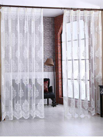 Unique Floral Sheer Tulle Curtain Door Window Balcony Screen - W54 INCH * L108 INCH WHITE Mobile