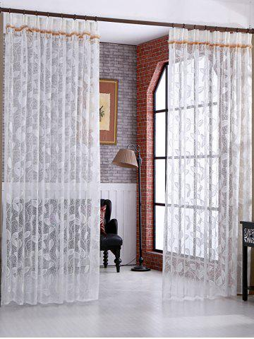 Online Leaf Rattan Sheer Tulle Curtain Voile Drape - W42INCH*L63INCH WHITE Mobile