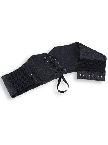 Unique Denim Fabric Corset Belt with Lace Up - BLACK  Mobile