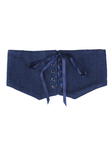 Affordable Denim Fabric Corset Belt with Lace Up - CERULEAN  Mobile