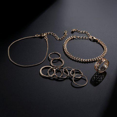 Best Circle Chain Bracelets with Rings - GOLDEN  Mobile