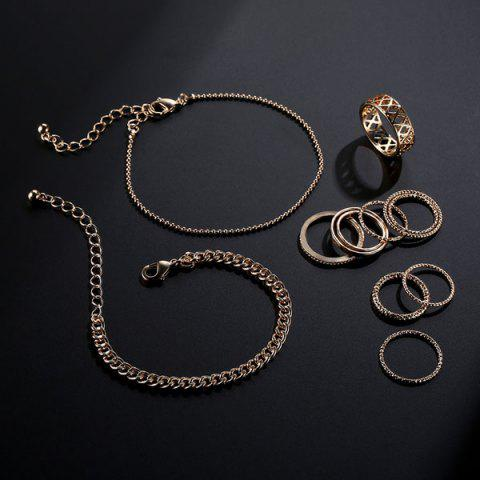 Shop Circle Chain Bracelets with Rings - GOLDEN  Mobile