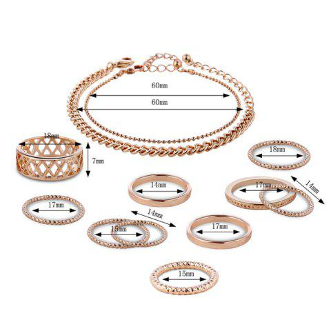 Sale Circle Chain Bracelets with Rings - GOLDEN  Mobile