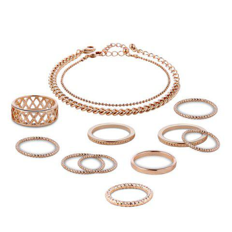 Latest Circle Chain Bracelets with Rings - GOLDEN  Mobile