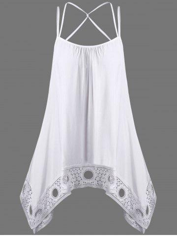 Shops Crochet Trim Criss Cross Asymmetric Tank Top