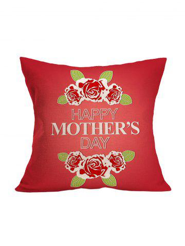 Online Mother's Day Flower Pillowcase - 43*43CM RED Mobile
