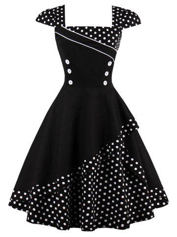 Cheap Cap Polka Dot Corset Vintage Dress BLACK S