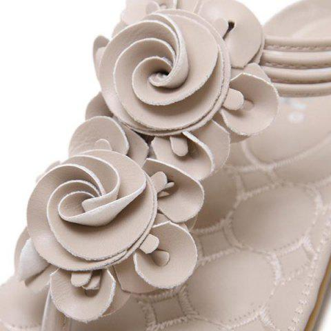 Affordable Elastic Band Flowers Sandals - 38 APRICOT Mobile