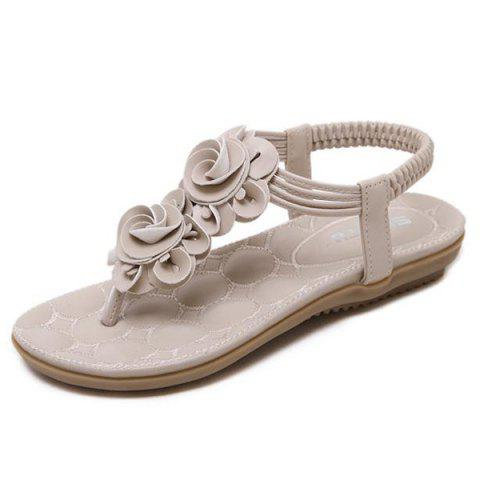Chic Elastic Band Flowers Sandals - 38 APRICOT Mobile