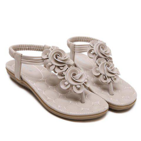 Sale Elastic Band Flowers Sandals - 38 APRICOT Mobile