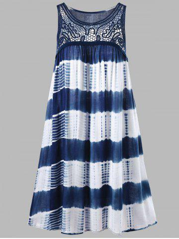 Outfit Sleeveless Tie Dye A Line Casual Swing Dress - L BLUE AND WHITE Mobile