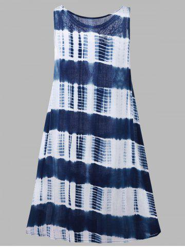 Chic Sleeveless Tie Dye A Line Casual Swing Dress - L BLUE AND WHITE Mobile