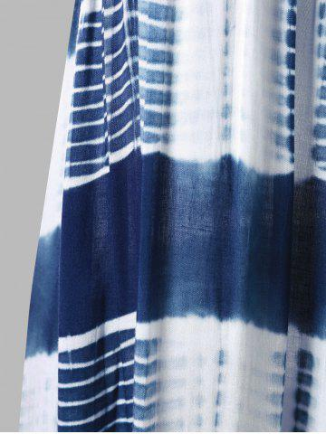 Affordable Sleeveless Tie Dye A Line Casual Swing Dress - L BLUE AND WHITE Mobile