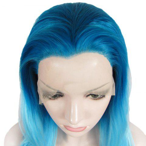 Unique Attractive Blue Gradient Trendy Long Synthetic Shaggy Wavy Lace Front Wig For Women - OMBRE 1211#  Mobile