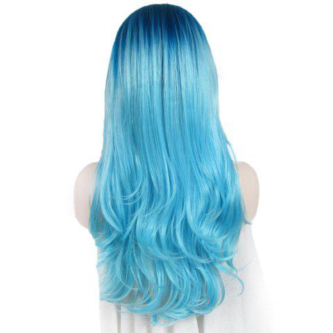 Shop Attractive Blue Gradient Trendy Long Synthetic Shaggy Wavy Lace Front Wig For Women - OMBRE 1211#  Mobile