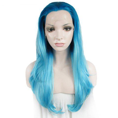 Sale Attractive Blue Gradient Trendy Long Synthetic Shaggy Wavy Lace Front Wig For Women
