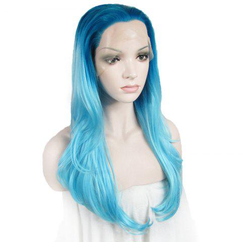 Latest Attractive Blue Gradient Trendy Long Synthetic Shaggy Wavy Lace Front Wig For Women - OMBRE 1211#  Mobile