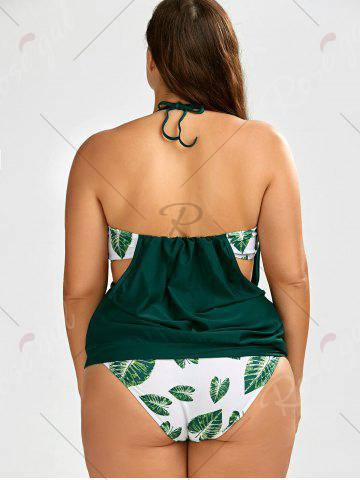 New Plus Size Halter Tropical Tankini Swimsuit - 2XL GREEN Mobile