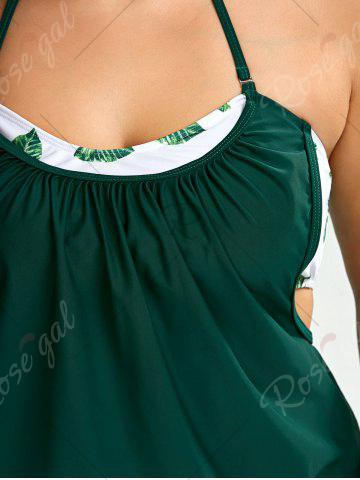 Trendy Plus Size Halter Tropical Tankini Swimsuit - 2XL GREEN Mobile
