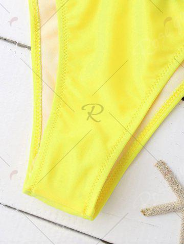 Chic Sporty Letter Graphic Bandage Bikini - S YELLOW AND BLACK Mobile