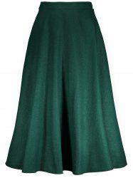 High Waisted Woolen Maxi Full Skirt - GREEN