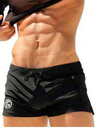 Stretchy Lace Up Zip Up Pocket Swimming Trunks - BLACK
