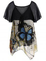 Plus Size Chiffon Butterfly Print Top