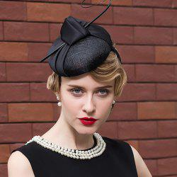 Satin Knot Feather Branch Pillbox Hoop Hat