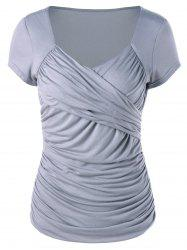 Sweetheart Neck Ruched Surplice T-Shirt