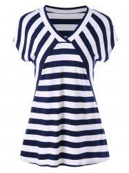 V Neck Longline Striped Tee