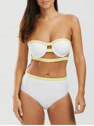 High Waist Bandeau Strapless Bathing Suit Bikini