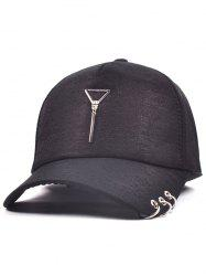 Metal Triangle Pendant Circle Embellished Baseball Hat