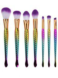 7 Pcs Multifunction Mermaid Shape Makeup Brush Kit - MULTI COLOR