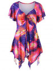 Plus Size Sweetheart Neck Galaxy Asymmetrical T-Shirt