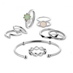 Faux Gem Circle Rings with Bracelet