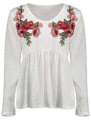V Neck Floral Embroidered Top