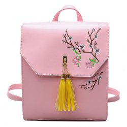 Flower Embroidery Tassel Backpack