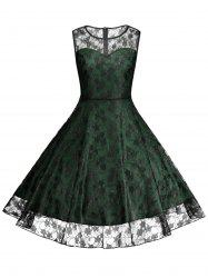 Plus Size Floral Lace Skater Cocktail Formal Dress