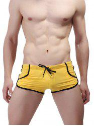 Pockets Design Lace Up Stretchy Swimming Shorts -