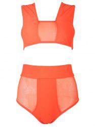 Cross Back Sheer High Waisted Two Piece Bikini