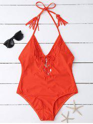 Open Back Fringe One Piece Swimsuit