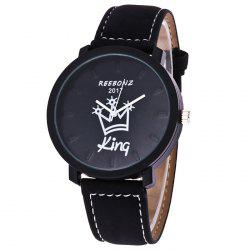Queen King Faux Leather Strap Quartz Watch