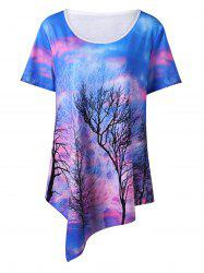 Tree Print Asymmetrical Plus Size T-Shirt
