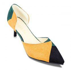 Mid Heel Colour Block Pumps - YELLOW