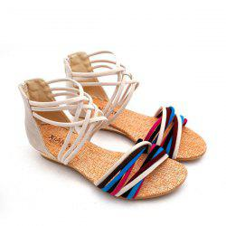 Cross Straps Color Block Sandals - OFF-WHITE