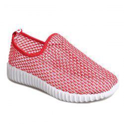 Colour Block Hollow Out Athletic Shoes - RED