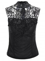 Lace Insert High Neck Backless Sleeveless Top
