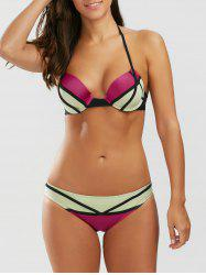 Color Block Halter Push Up Neoprene Bikini Set