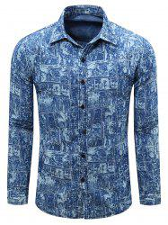 Long Sleeve Bleach Wash Pockets Print Shirt